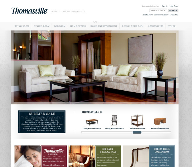 Thomasville Furniture Website Proposal Created On Contract For Brand Aid.