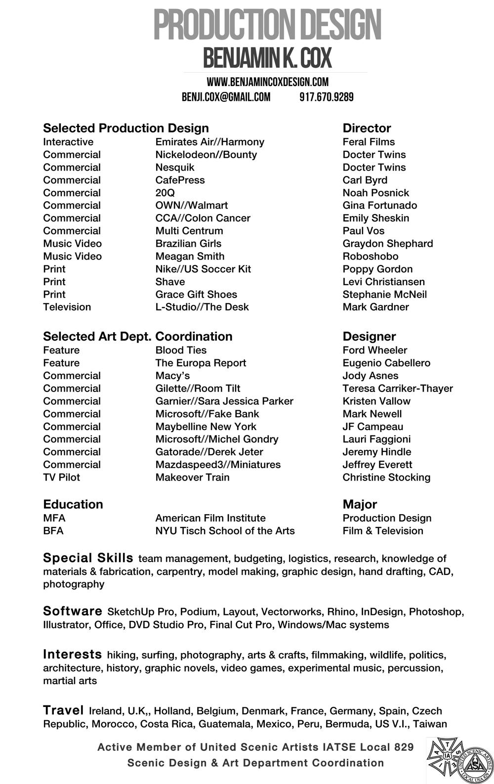 Resume Benjamin K Cox Production Design