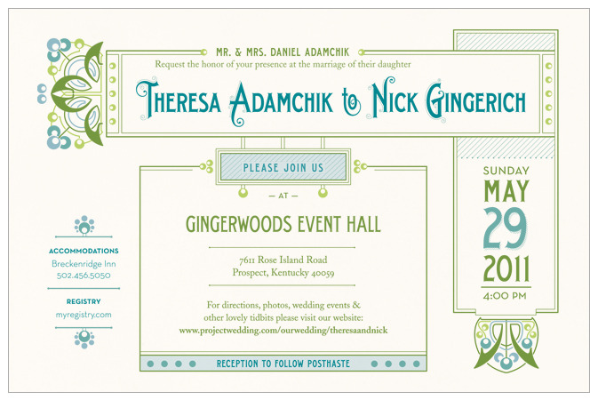 An Art Nouveau inspired wedding invitation