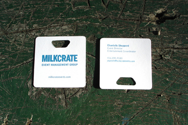 milkcrate die cut business cards