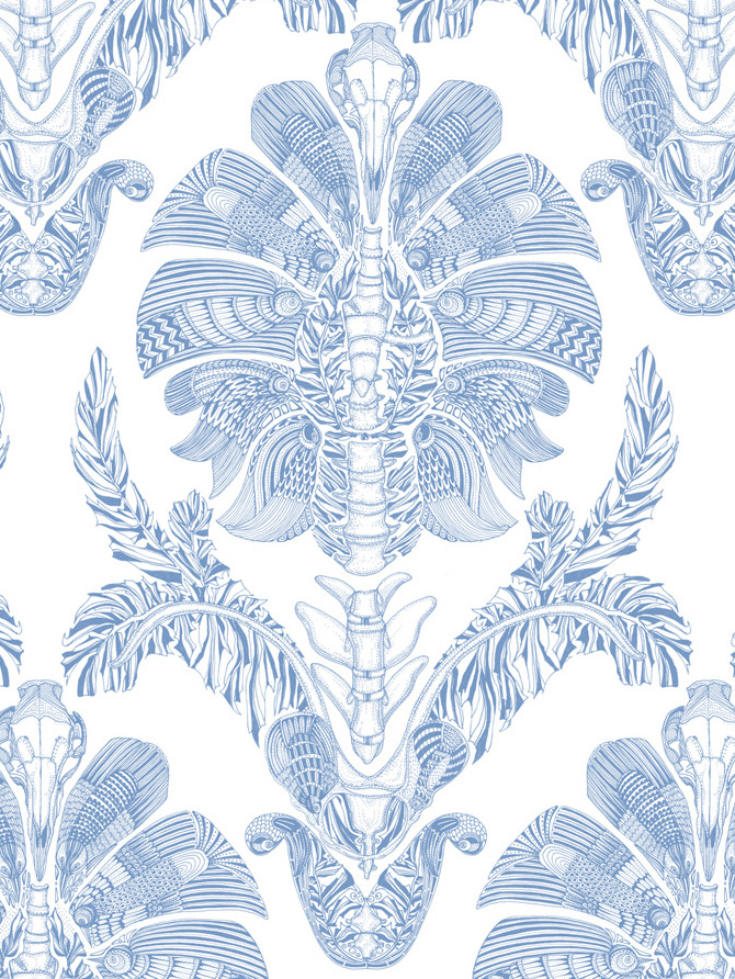 Changing The Traditional Wallpaper Pattern With Modern Elements This Patten Suggests Pollution Of Environment And Death Wild Life