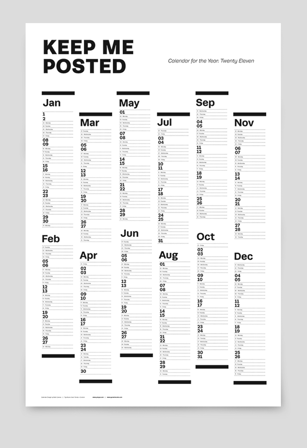 Twenty Eleven Calendar Pprwrk Studio Typography Design
