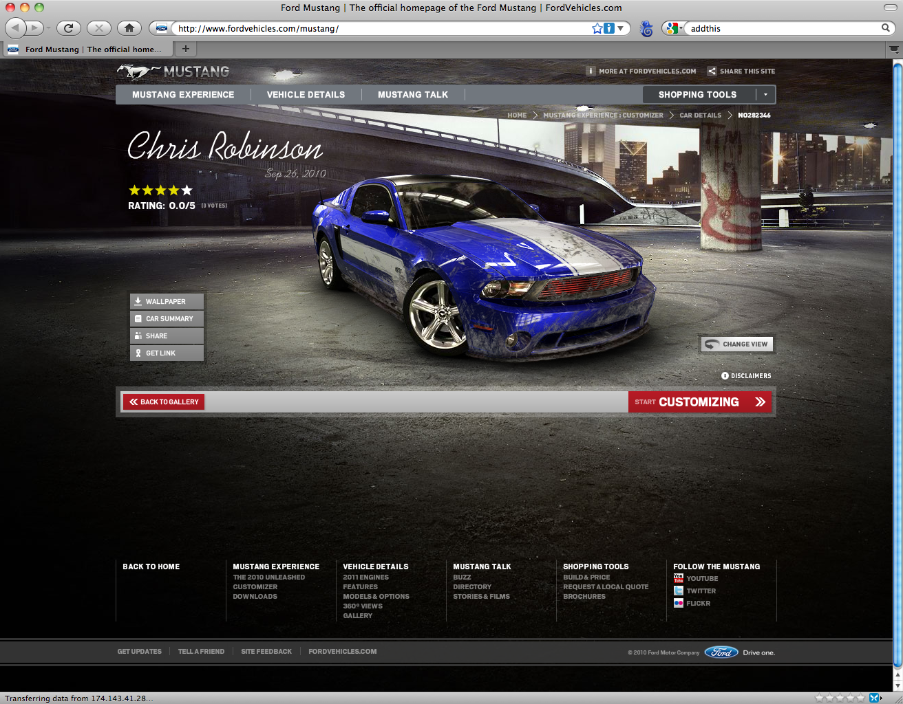Mustang Customizer - JBR Design