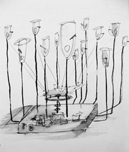 Bell Jar Drawing Pecking Devices