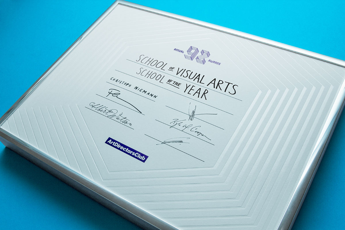ADC 92nd Annual Awards Certificate