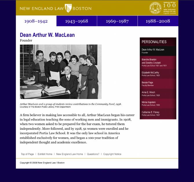 New England Law   Boston, Centennial Exhibits - proundesign