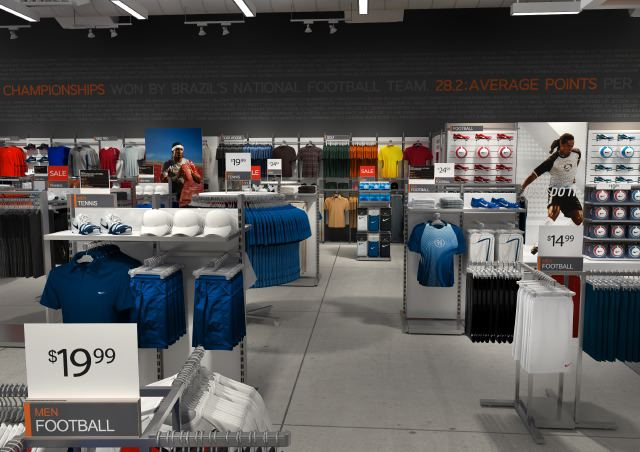 Nike Factory Store. These renderings were created just before Vray for c4d  came out. Because of the size of this shop 10d38654165b