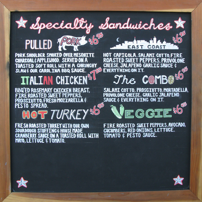 how to write chalkboard menu