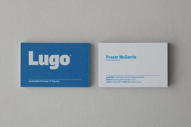 Lugo glasgow graphic design agency branding and logo design duplex business cards with white foil on one side and letterpress type on the reverse also included in the project is a full suite of stationery reheart Choice Image