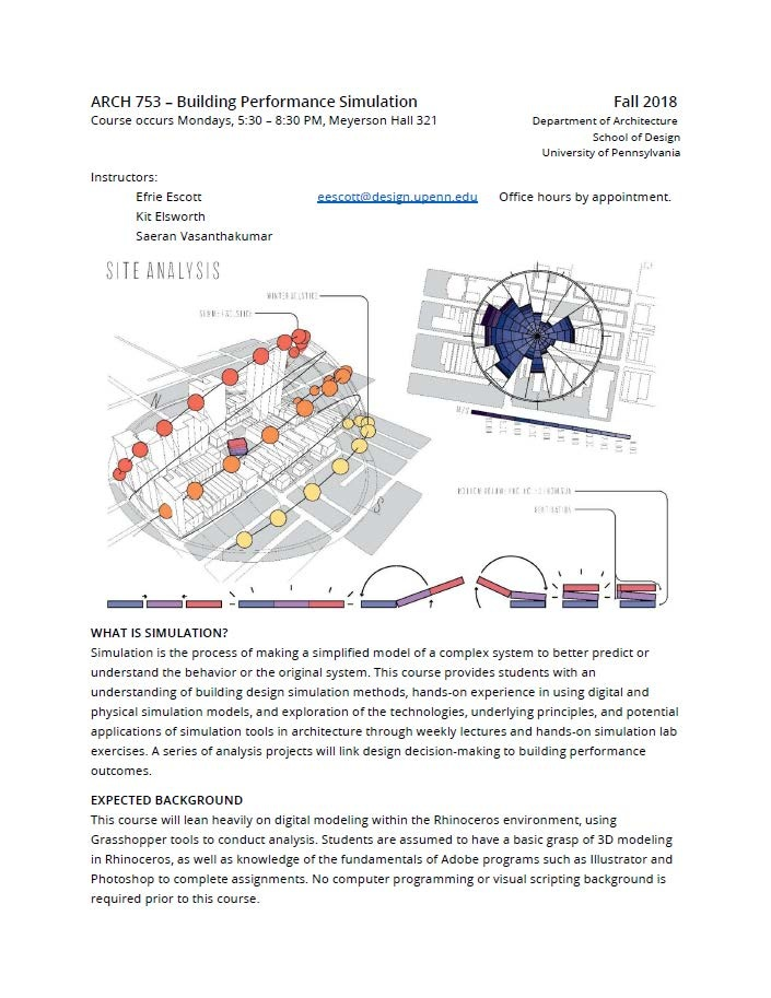 Arch 753: Building Performance Simulation - MEBD-PennDesign