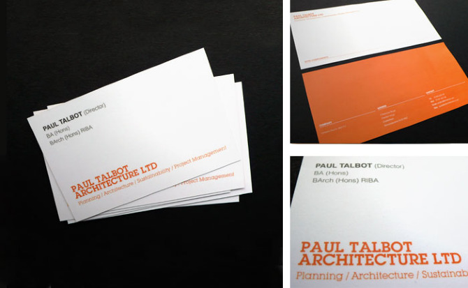 Paul talbot architecture identity louie a hefty designs paul talbot architecture offers architectural services and design consultancy work has included business cards headed paper compliment slips and an colourmoves