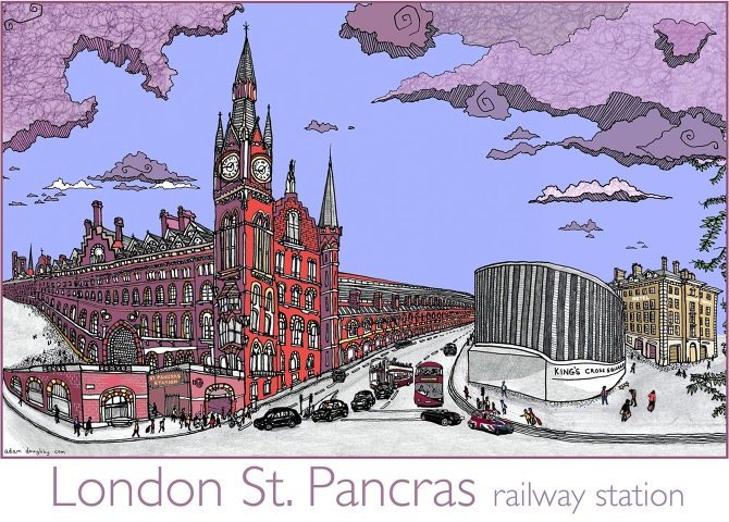 London st pancras illustration postcard 2015