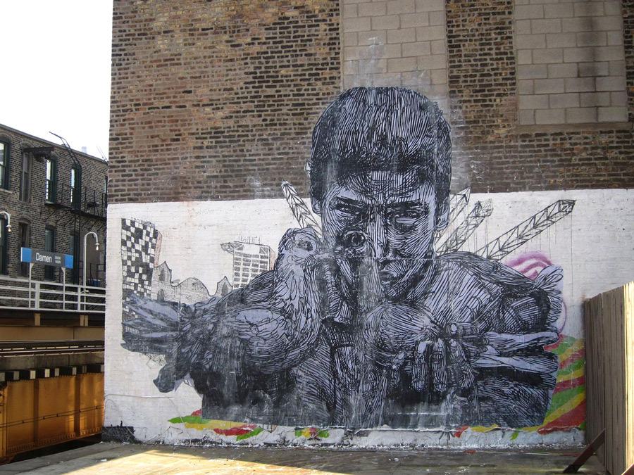 Gaia damen mural chicago unurth street art for Chicago mural artist