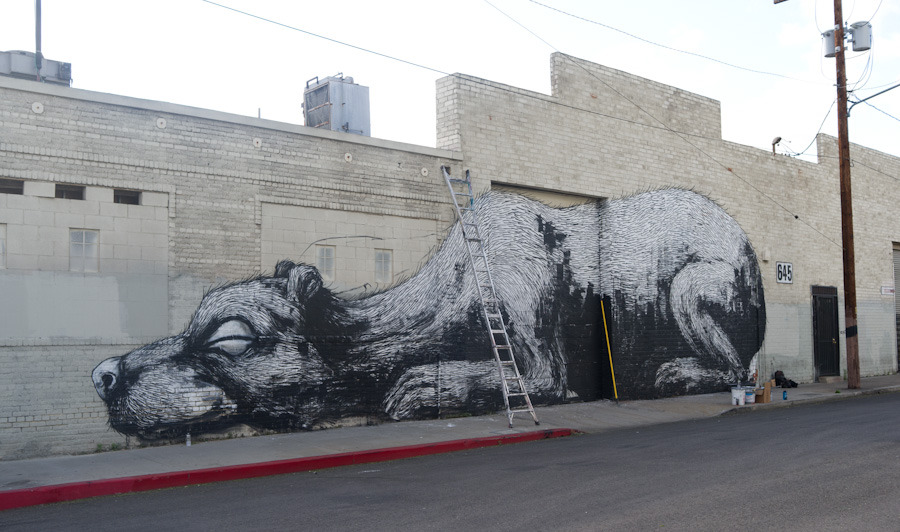 ROA Bear Seal Downtown Los Angeles April11 1 4 1000 Лучшие городские рисунки от unurth. gorodskoy dizayn