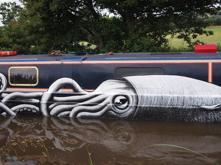 Phlegm Hits A Canal Boat Unurth Street Art