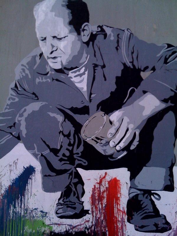 Mr brainwash jackson pollock los angeles unurth for Mural by mr brainwash