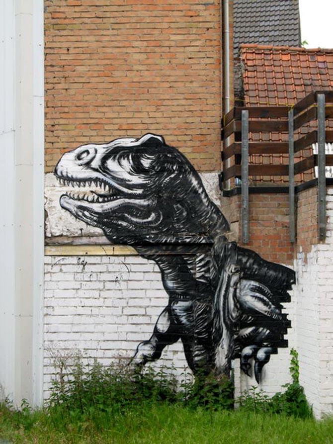 Roa, T-Rex + Pig, Ghen...