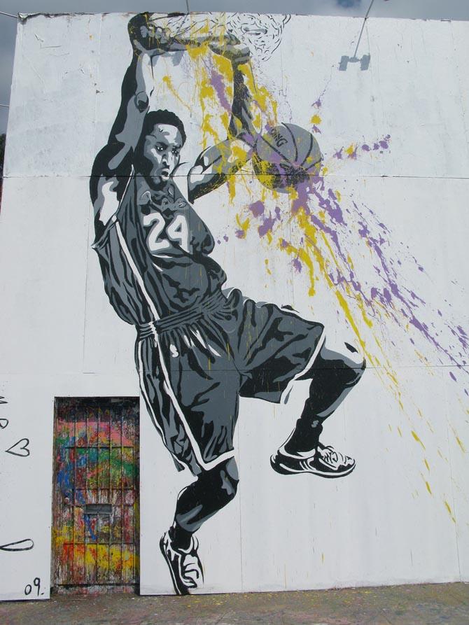 Mr brainwash in lakers we trust los angeles unurth for Mural painted by street artist mr brainwash