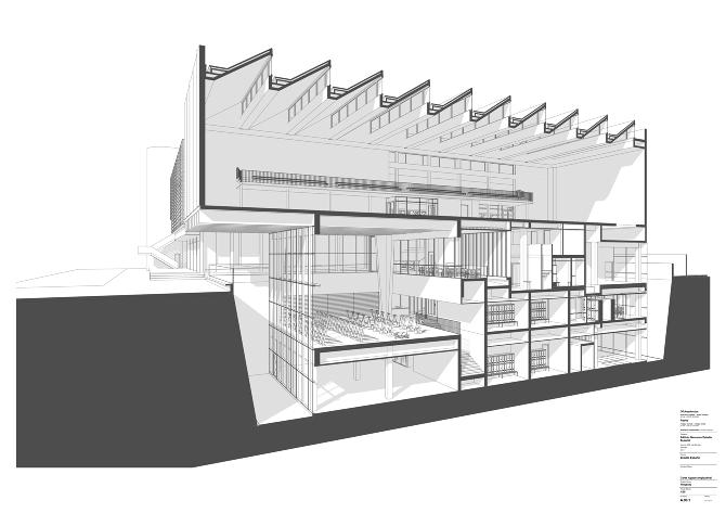 Polideportivo estadio espa ol of for Cortes arquitectonicos