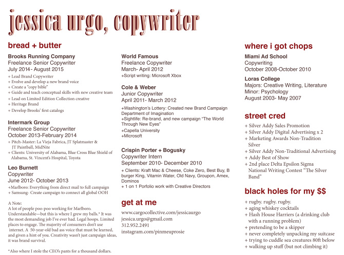 a copywriters resume