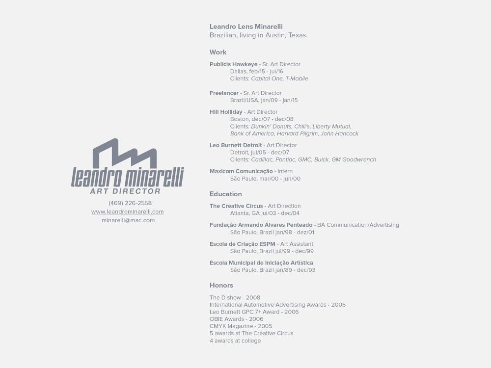 resumecontact leandro minarelli portfolio