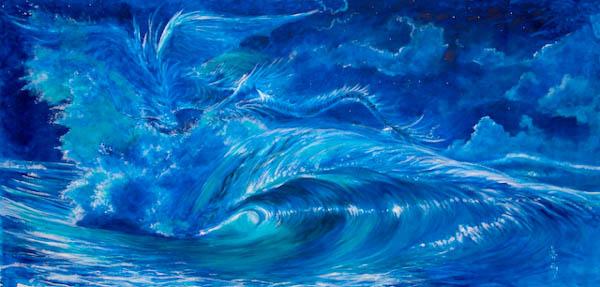 mayumi tsubokura painting: blue wave representing hawaian legendary dragon