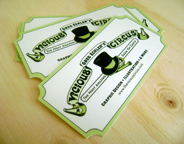 circus ticket die cut business cards