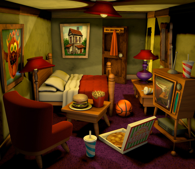 Living Room Background Animated: Freelance 3D Character Design, Game