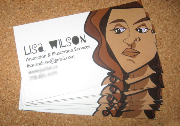 Postcards and business cards lisawilson personal network project design a fun business card to promote my services client personal self promotion colourmoves