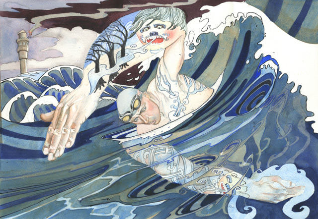 contemporary watercolour illustration of the greek myth Leander and Hero