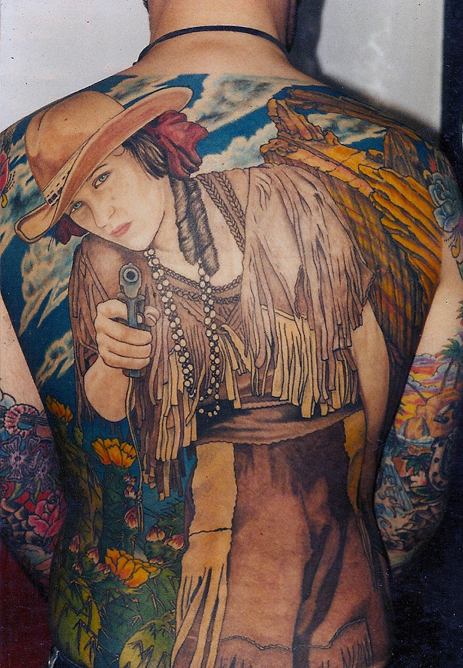 Full Back Piece Annie Get Your Gun Adk Tattoo