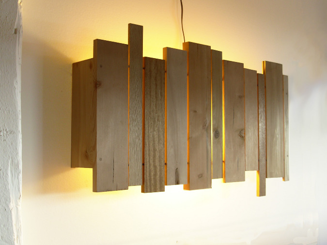 Diy Wooden Wall Lamps : slats wall sconce - cantilever and press