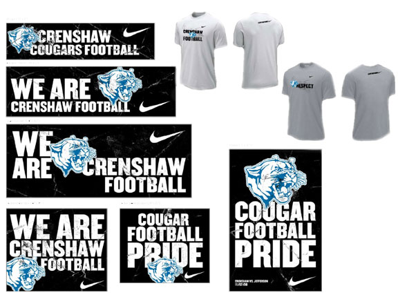 The deliverables for a high school in california called crenshaw high school they received custom tee shirts banners bag tags posters bumper stickers