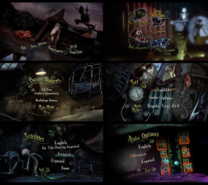 disc 1 menu screens - Nightmare Before Christmas Theory