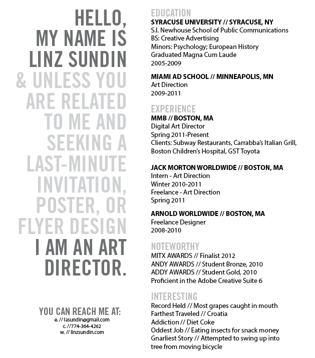 here i am resume linz sundin art director