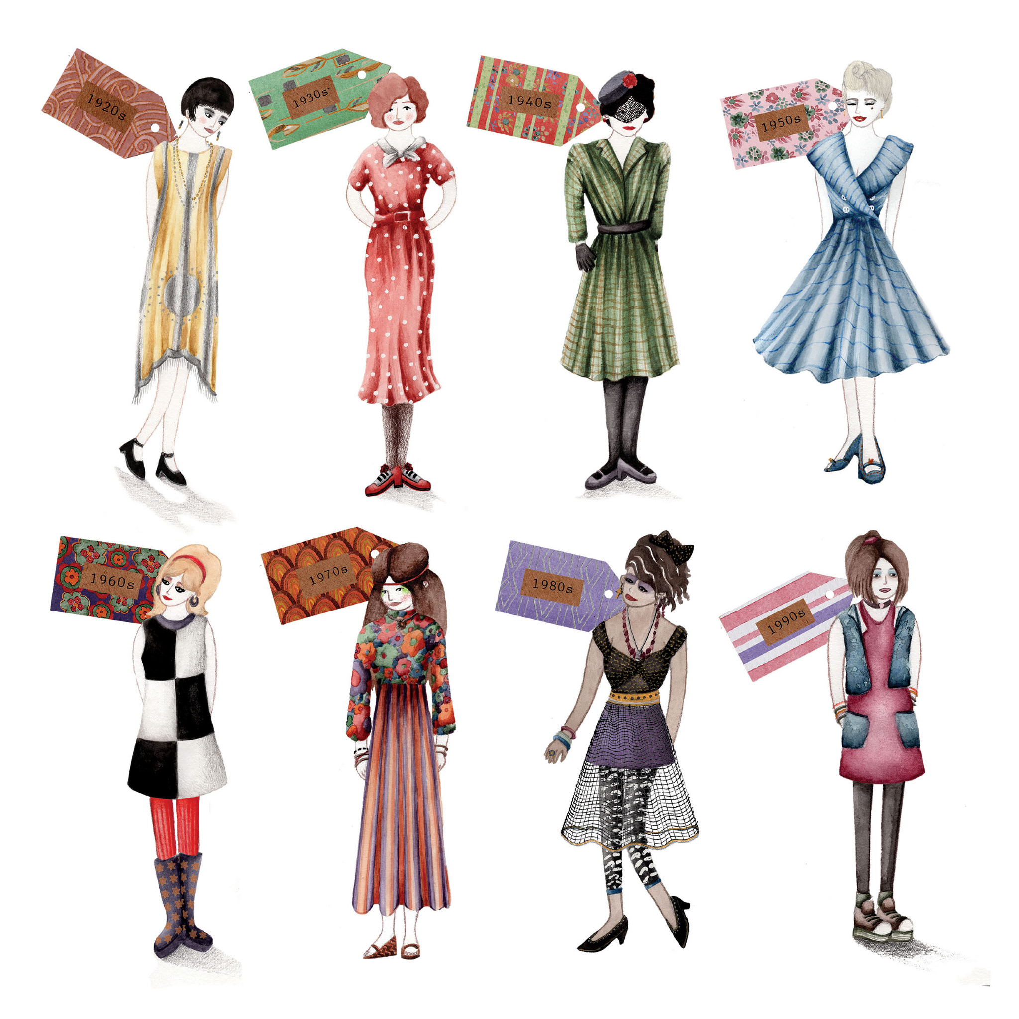 Vintage Clothing Illustrations - Laura Hallett Art and Illustration