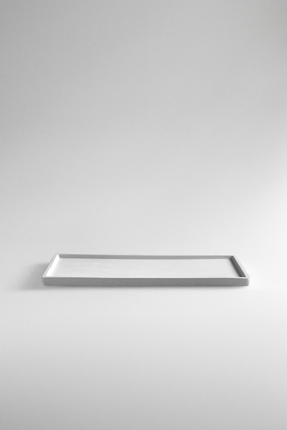 white rectangular concrete tray
