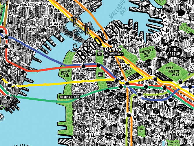 Cartoon Map Of New York City.Hand Drawn Map Of New York Jenni Sparks