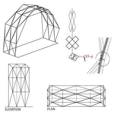 WoodSF 1 wooden space frame exploration erin hylton architecture