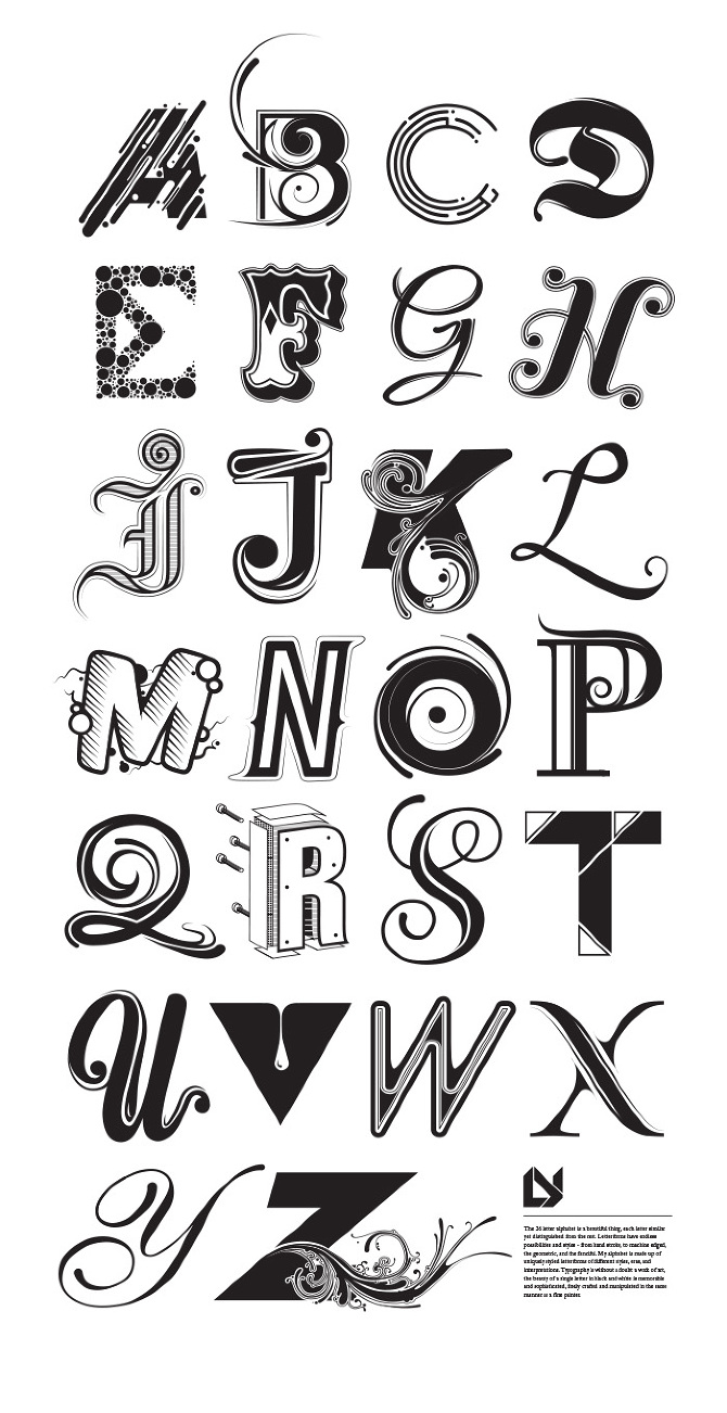 Custom typographic alphabet made with varying styles for each letter