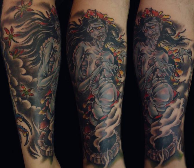 Japanese Ghost Sleeve Michael Tofano Tattoo