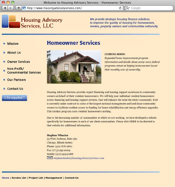 Housing Advisory Services Website Robert Salm