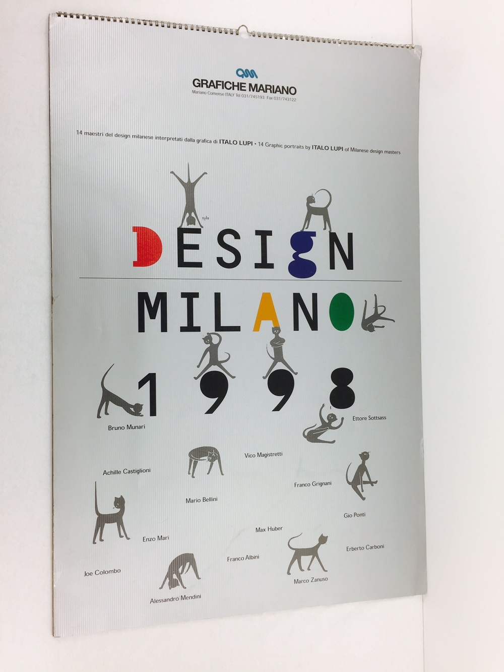 1998 Calendario.Calendario 1998 With Graphics Design By Most Famous Italian