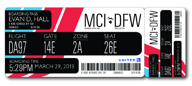 united airlines airline ticket re design evanhalldesigns
