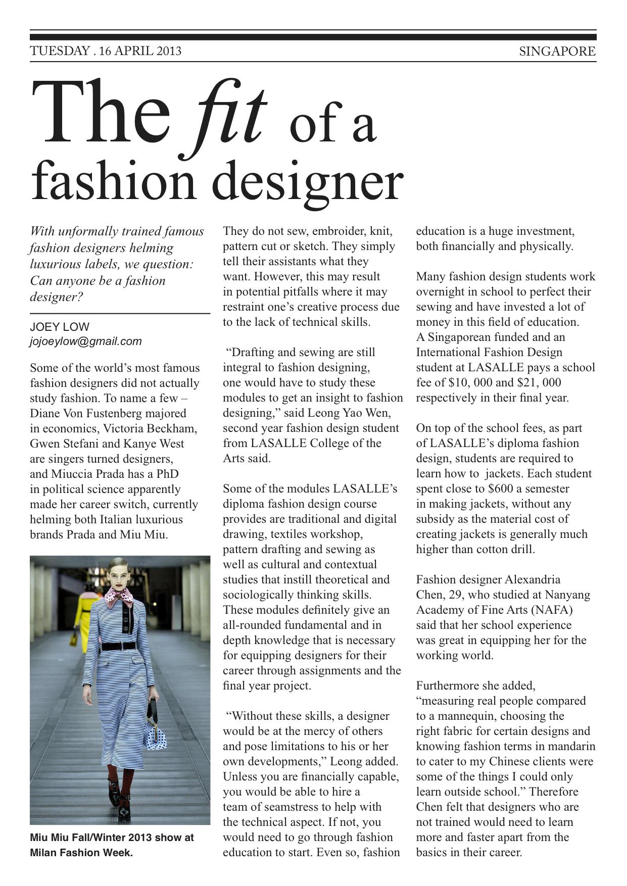 The Fit Of A Fashion Designer Joey S Portfolio