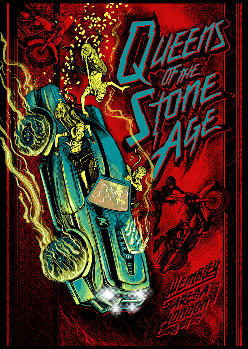 queens of the stone age concert poster screen printed for london wembley arena 2017