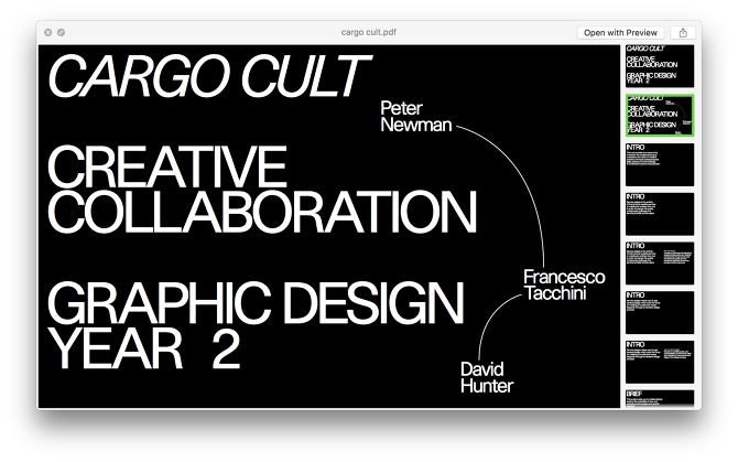 Year 2: Cargo Cult - Graphic Design Ravensbourne