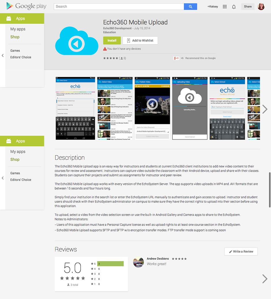 Echo360 Mobile Upload App - Kelsey Trabue