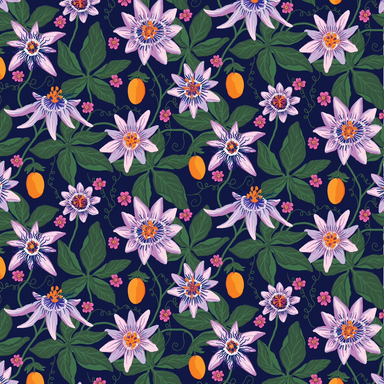 Pattern Passiflora Klara Bartilsson Illustrator