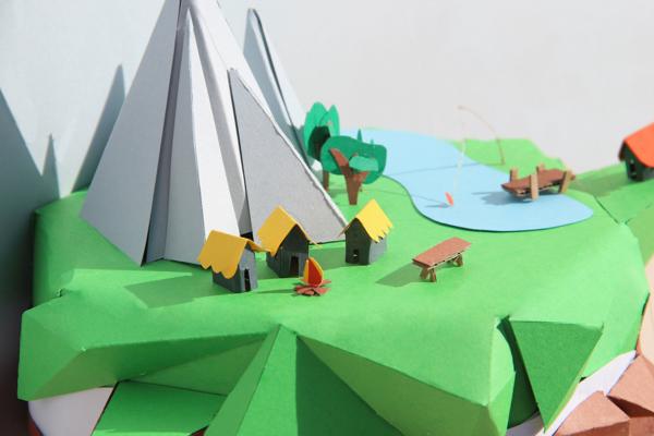 Floating Island Mjulien Freelance Papercraft Graphic Design